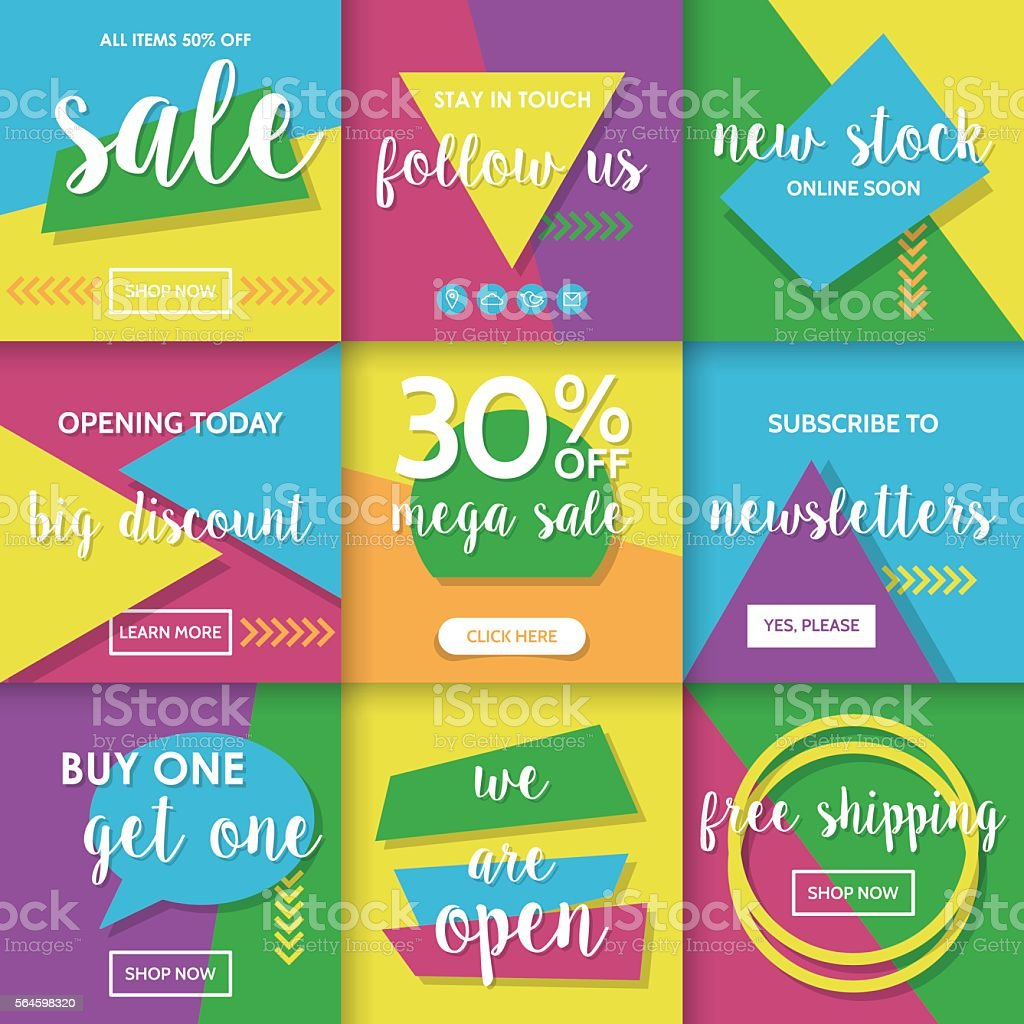 modern website promotion and sale banners template for social media