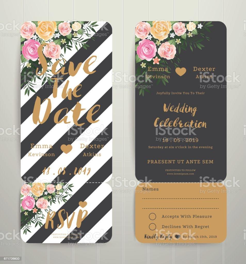 modern wedding invitation black and white stripes background vector art illustration