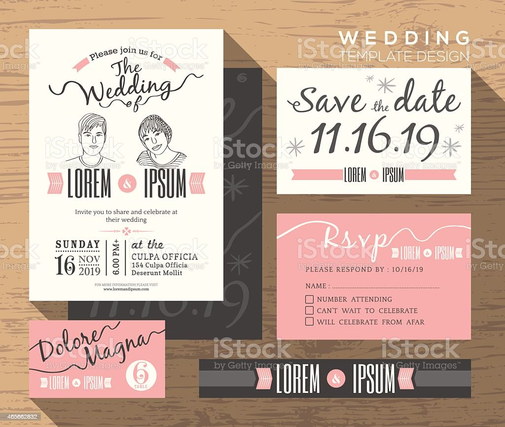 Modern wedding invitation set design Template vector art illustration
