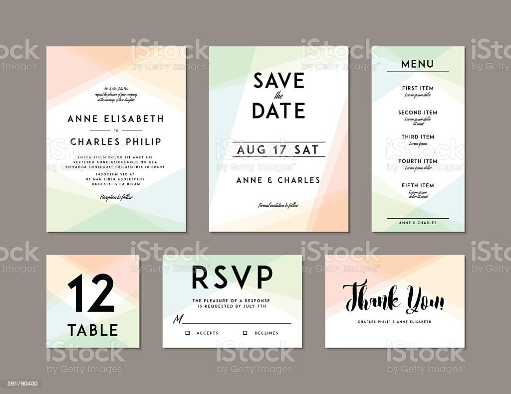 Modern Wedding Set template - ilustración de arte vectorial