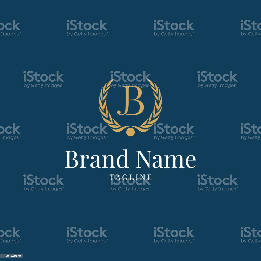 Modern Wheat Jb Elegance Luxury Logo Blue And Gold Color Stock