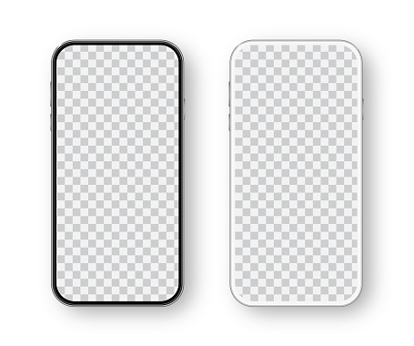 Modern White and Black Smartphone. Mobile phone Template. Telephone. Realistic vector illustration of Digital devices