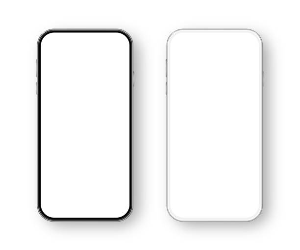 Modern White and Black Smartphone. Mobile phone Template. Telephone. Realistic vector illustration of Digital devices Modern White and Black Smartphone. Mobile phone Template. Telephone. Realistic vector illustration of Digital devices iphone stock illustrations