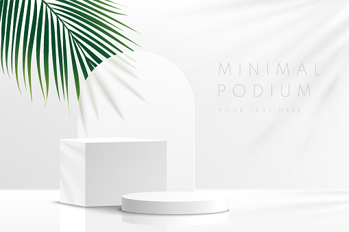 Modern white and gray geometric pedestal podium with green palm leaf. Platform in shadow. Abstract white and gray minimal wall scene. Vector rendering 3d shape cosmetic product display presentation.
