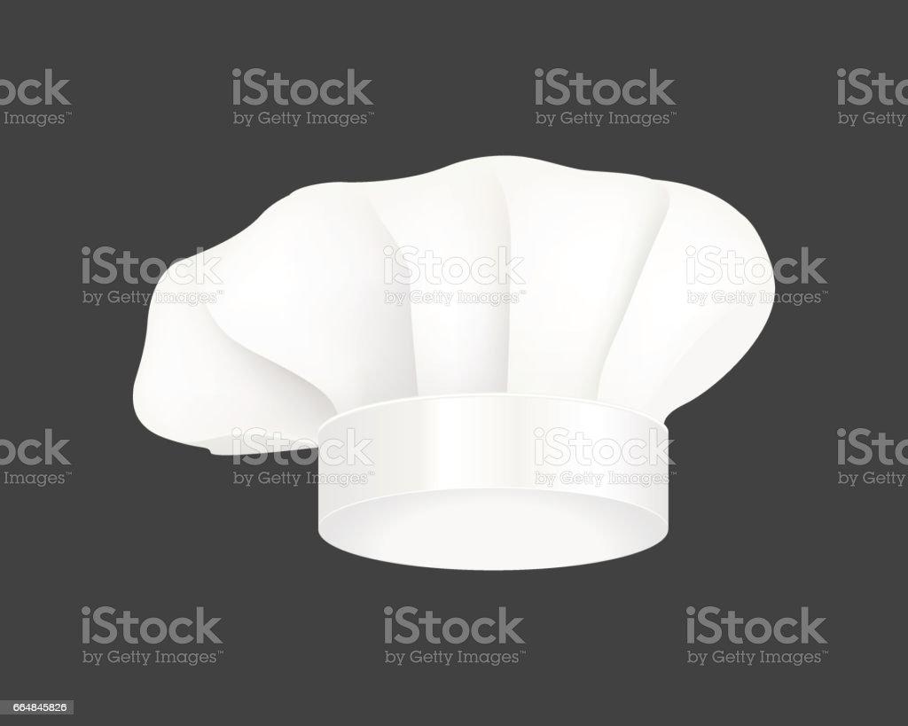 Modern white chef hat restaurant uniform costume wear fabric cooker fashion vector illustration vector art illustration