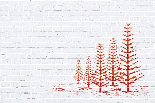 Modern white color brick pattern wall texture grunge background Xmas vector illustration with a red colored creative Christmas theme woodland graffiti graffitied on wall