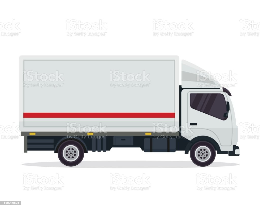 Modern White Commercial Cargo Delivery Vehicle Illustration vector art illustration