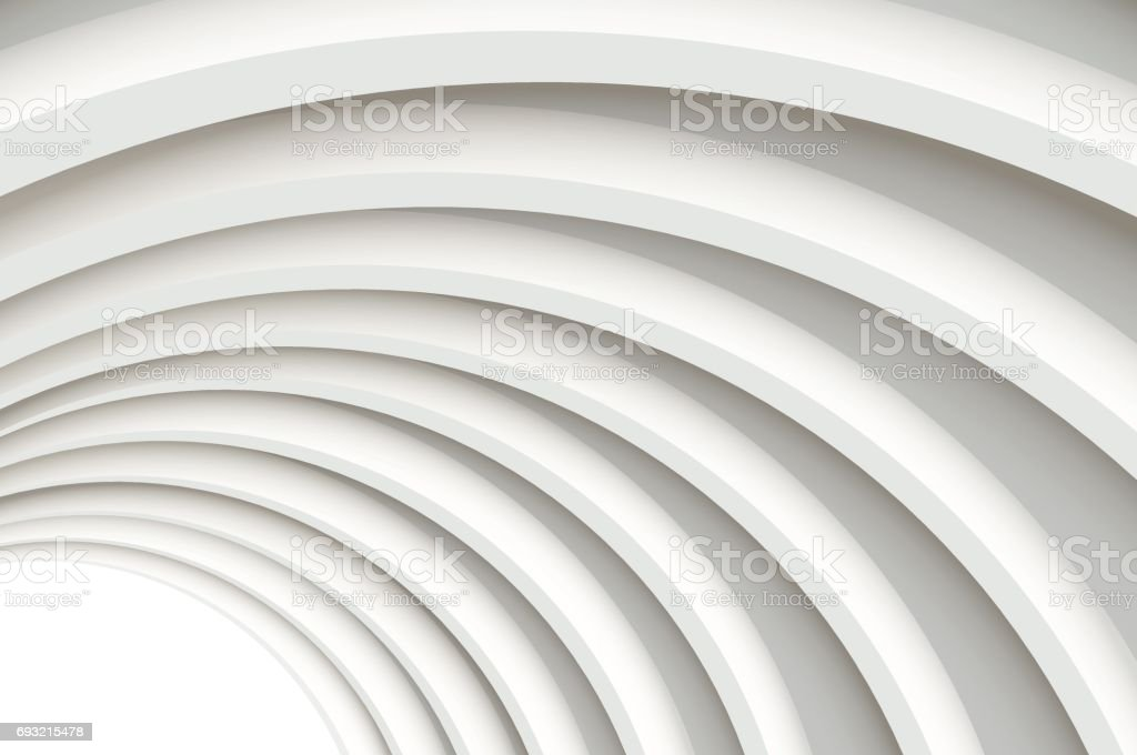 Modern white concrete arched ceiling in perspective. vector art illustration