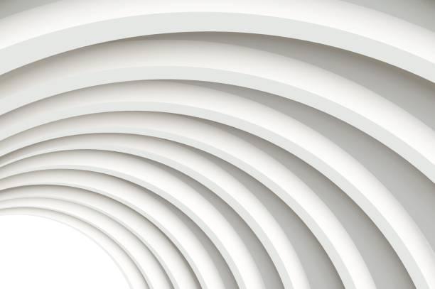 Béton blanc moderne arqué plafond en perspective. - Illustration vectorielle
