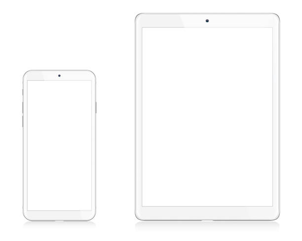 modern white digital tablet and smart phone - tablet stock illustrations