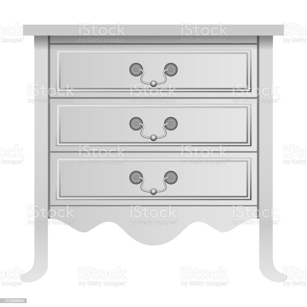 Modern White Drawer Mockup Realistic Style Stock