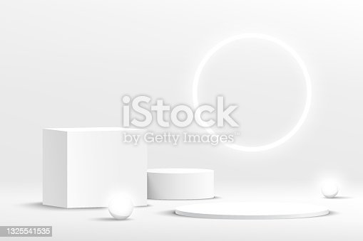 istock Modern white, gray geometric pedestal podium with neon sphere ball. Abstract white minimal wall scene with glowing neon ring backdrop. Vector rendering 3d shape cosmetic product display presentation 1325541535