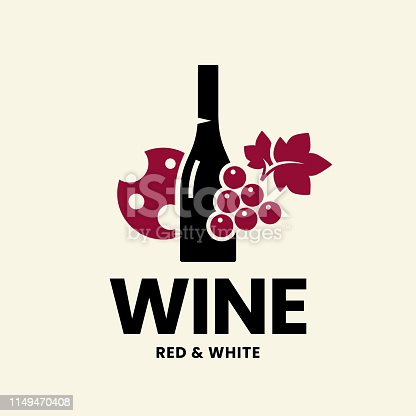 Modern wine vector logo sign for tavern, restaurant, house, shop, store, club and cellar isolated on light background. Premium quality vinery logotype illustration. Fashion brand badge design template.