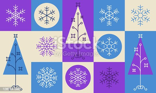 Modern holiday tree and snowflake line drawing purple and blue background texture pattern abstract design.