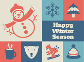 Minimalist and modern greeting card design for Winter Season with related icons and symbols.