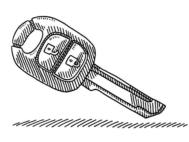 Modern Wireless Car Key Drawing Vector Art Illustration