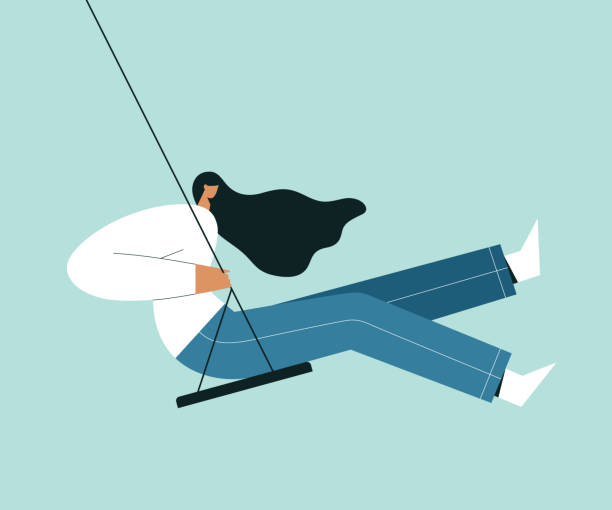 illustrazioni stock, clip art, cartoni animati e icone di tendenza di modern woman sitting on a swing. cartoon female character with blowing hair in the wind, and swinging. flat vector illustration. - altalena