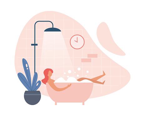 Modern woman taking hot bath at home
