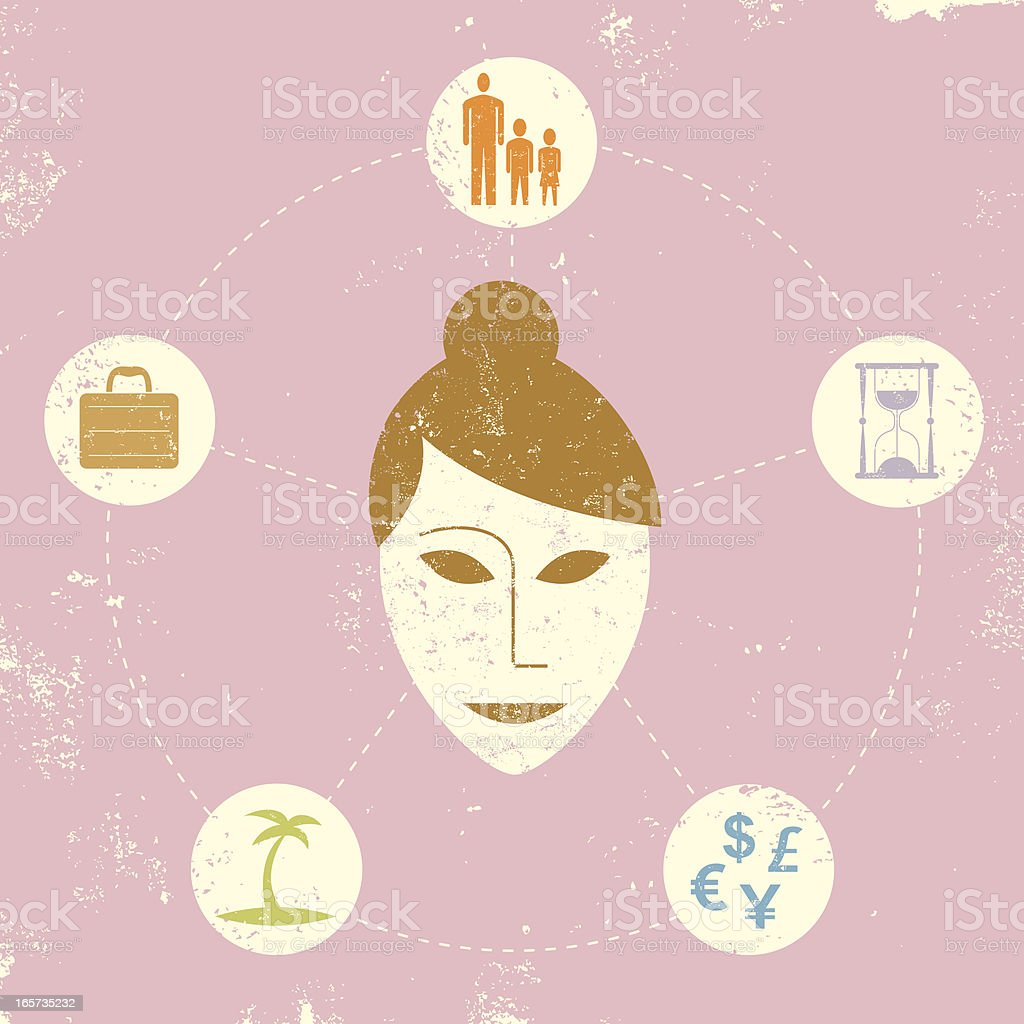 modern woman thoughts royalty-free stock vector art
