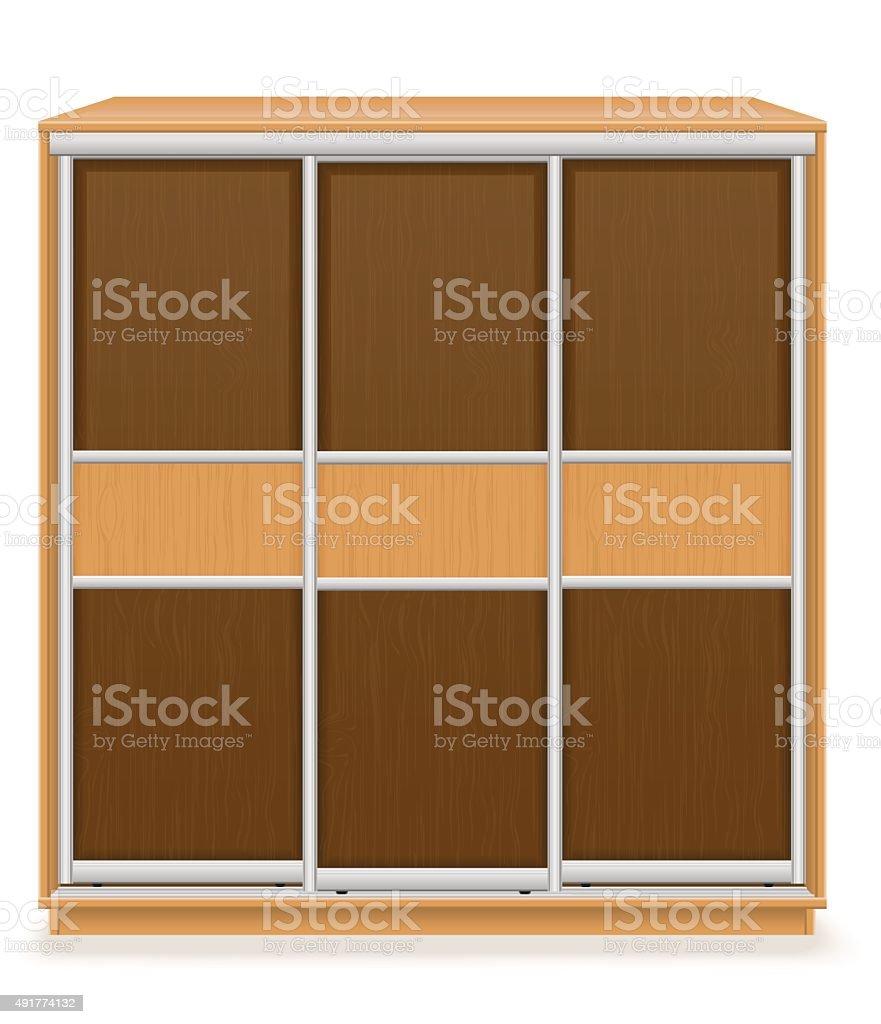 Moderne Holzmöbel Garderobe Mit Schiebetüren Vektor Illus Lizenzfreies  Vektor Illustration