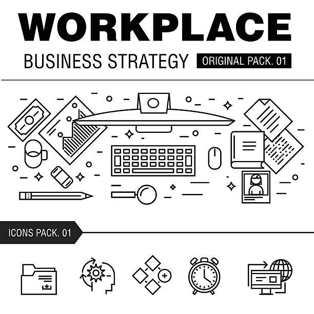 modern workplace business strategy. - tablet mit displayinhalt stock-grafiken, -clipart, -cartoons und -symbole