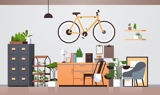 modern workplace cabinet empty living room interior no people apartment with furniture horizontal