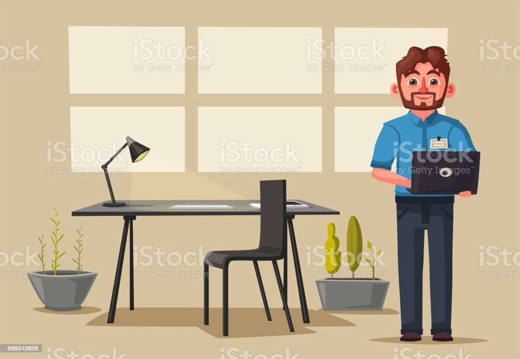 Modern Workplace Creative Character Office Work Cartoon Vector