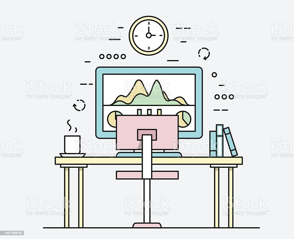 Modern workplace with desktop computer, developer work place vector art illustration