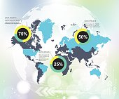 Modern world map infographic