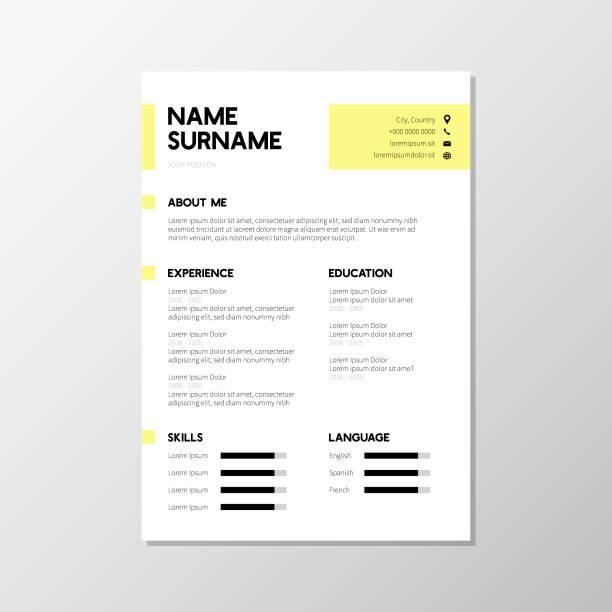 modern yellow CV resume design modern yellow CV resume design resume templates stock illustrations