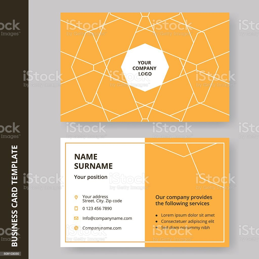 Modern Yellow Flat Design Business Card With A Outline Pattern Stock ...