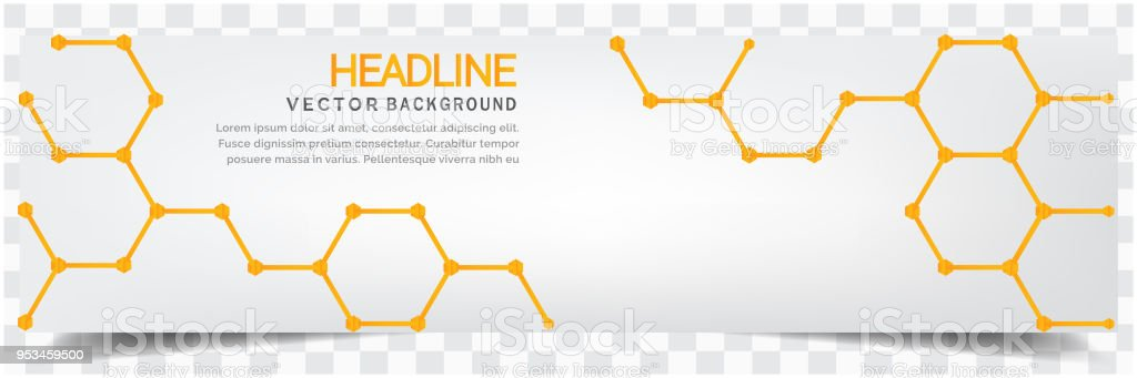 Modern Yellow Honeycomb White Background Headline Vector Image vector art illustration