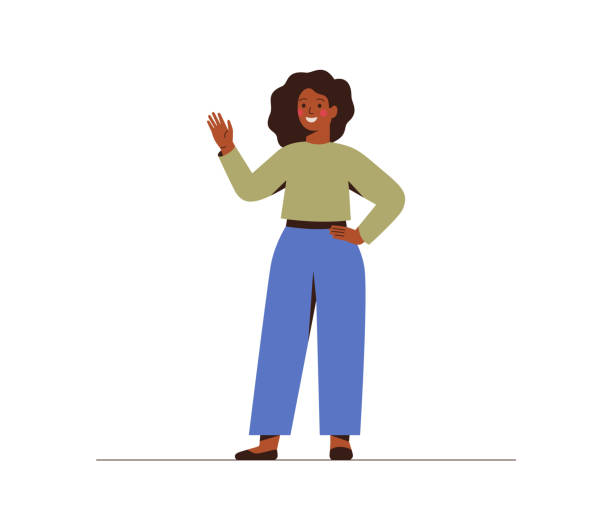 Modern young dark skin businesswoman is waving hand. Modern young dark skin businesswoman is waving hand. Smily black girl in casual clothes makes a greeting gesture. Flat vector cartoon illustration isolated on white background one person stock illustrations