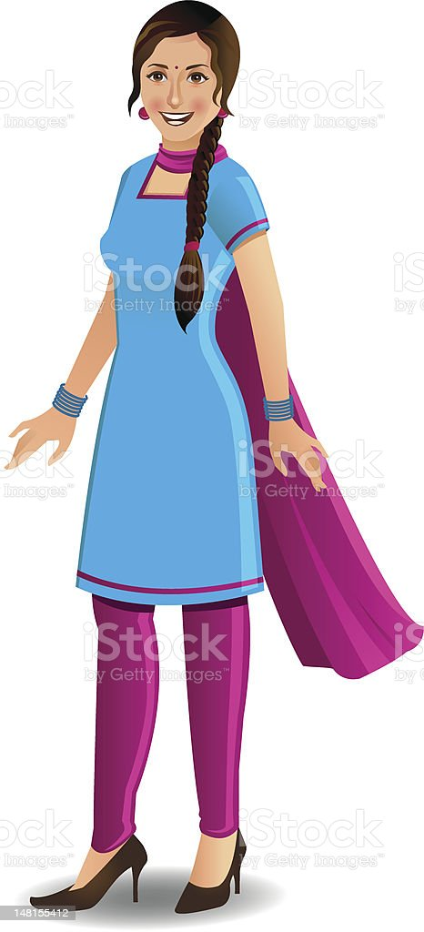 Modern young woman in salwar kameez vector art illustration