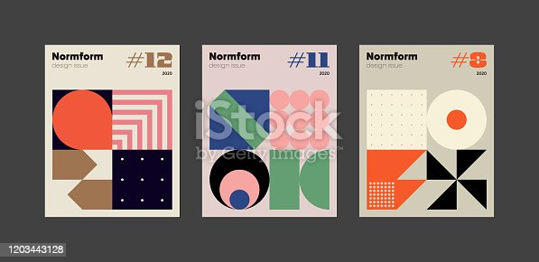 Contemporary graphic design of books vector cover mockup set created in modernism and minimalistic brutalism style, useful for poster art, magazine front page, decorative print, web banner artwork.