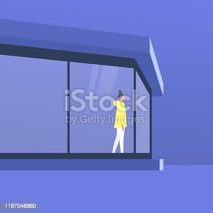 Modernist architecture, young female character standing in front of the window, outdoor view