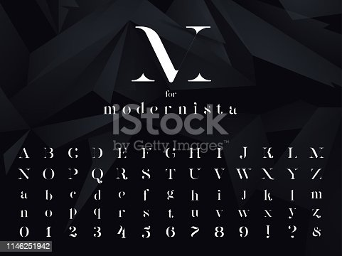 Modernista. Ultra modern minimalistic font, typeface for your logo, poster, book cover or any graphic design project. Vector EPS 10 illustration.