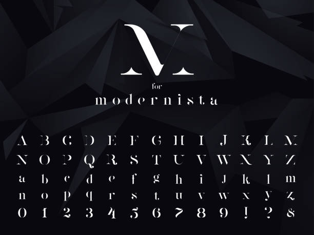 Modernista. Ultra modern minimalistic font, typeface for your logo, poster, book cover or any graphic design project. Vector illustration. Modernista. Ultra modern minimalistic font, typeface for your logo, poster, book cover or any graphic design project. Vector EPS 10 illustration. alphabet symbols stock illustrations
