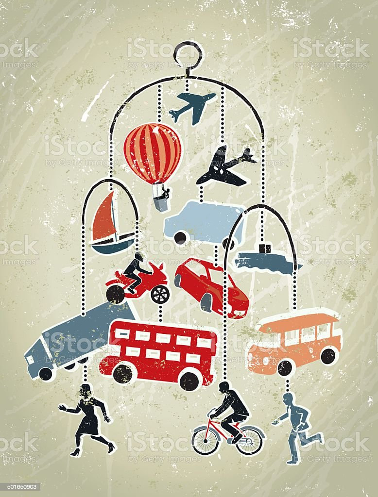 Modes of transport icons on a Mobile Scuplture vector art illustration