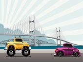 Detail illustration of 4x4 truck crossing the bridge. Vector illustration