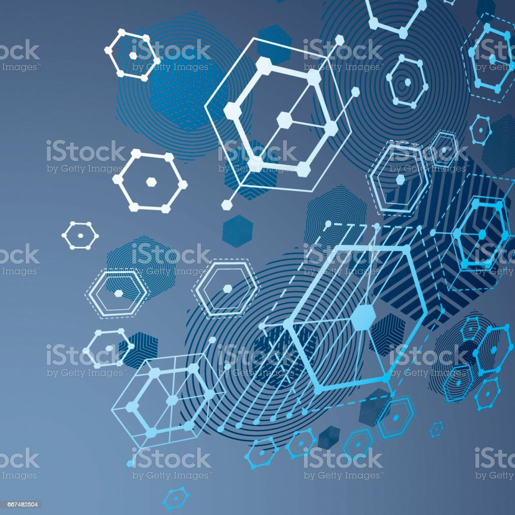 Modular Bauhaus 3d Vector Blue Background Created From Simple Geometric Figures Like Hexagons And Lines