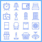 Modular house furniture design blueprint style concept outline symbols. Line vector icon sets for infographics and web designs.