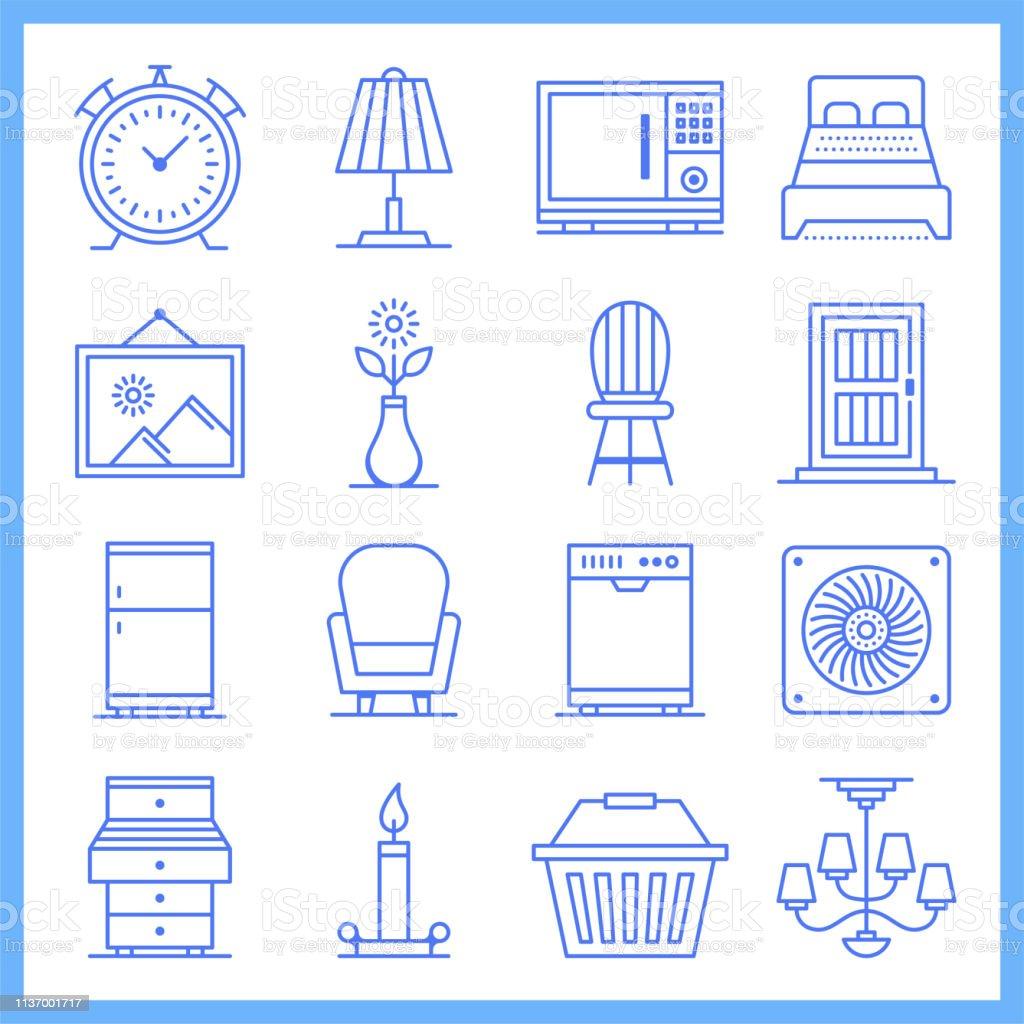Modular House Furniture Blueprint estilo Vector icono conjunto - ilustración de arte vectorial
