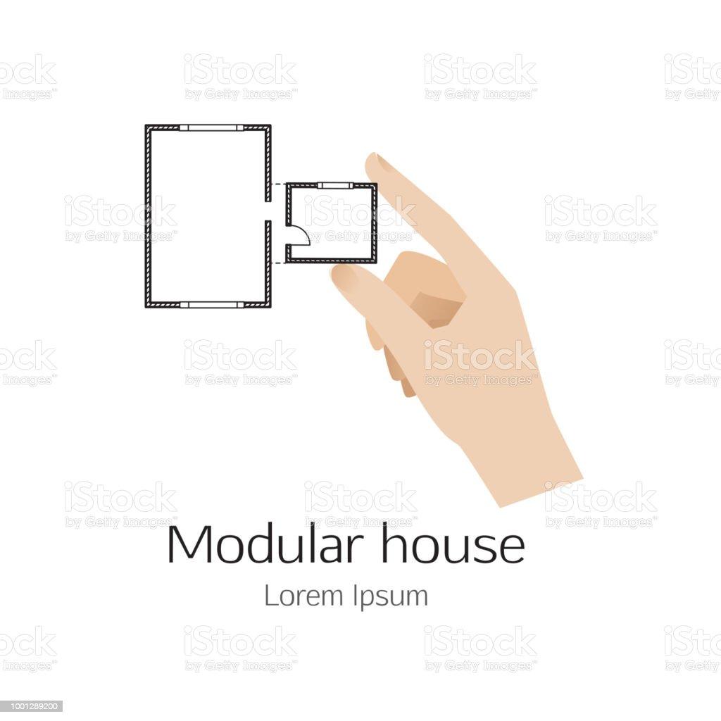 Casa modular - símbolo con la mano - ilustración de arte vectorial