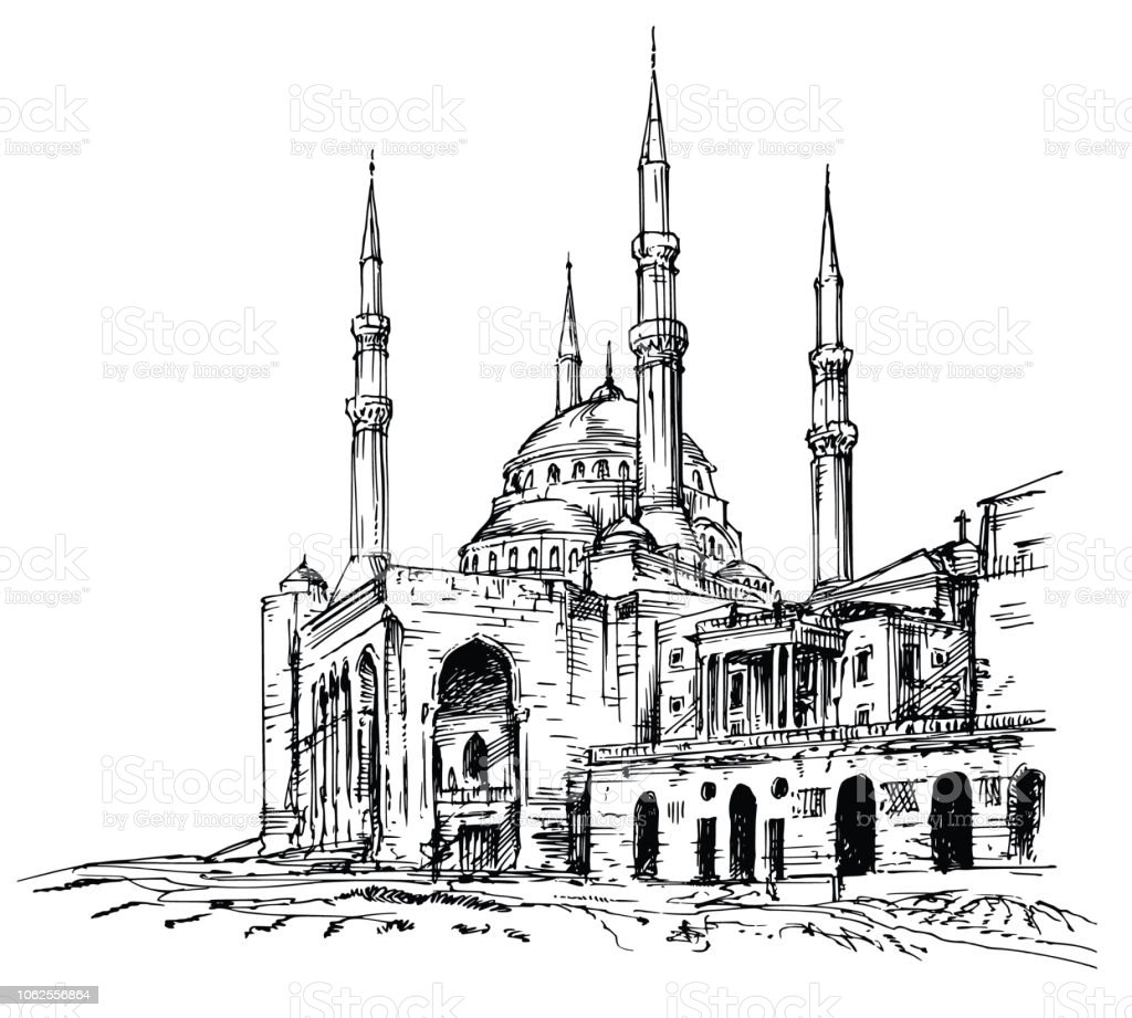 Mohammad Al-Amin Mosque in Beirut, Lebanon. vector art illustration