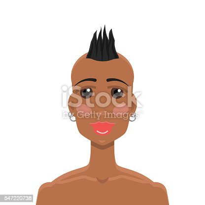 Mohawk Hairstyle Africanamerican Girl Stock Vector Art More Images