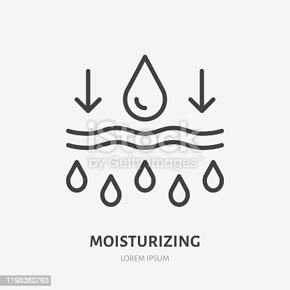 istock Moisture line icon, vector pictogram of moisturizing cream. Skincare illustration, sign for cosmetics packaging 1198380763