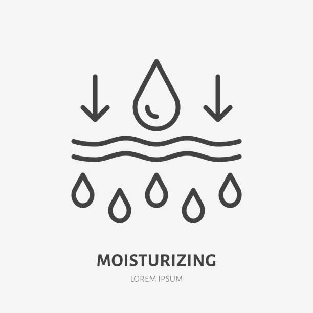 Moisture line icon, vector pictogram of moisturizing cream. Skincare illustration, sign for cosmetics packaging Moisture line icon, vector pictogram of moisturizing cream. Skincare illustration, sign for cosmetics packaging. porous stock illustrations