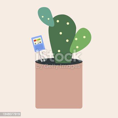 istock Moisture meter put in flower pot 1348077919
