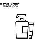 Moisturizer Line Icon, Outline Vector Symbol Illustration. Pixel Perfect, Editable Stroke.